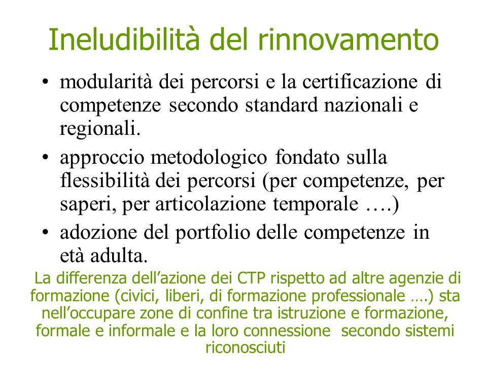 Ineludibilità del rinnovamento modularità dei percorsi e la certificazione di competenze secondo standard nazionali e regionali. approccio metodologic