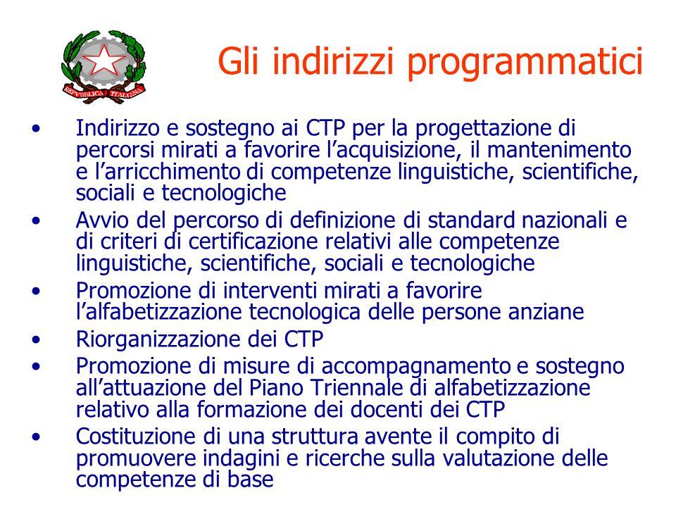 Gli indirizzi programmatici Indirizzo e sostegno ai CTP per la progettazione di percorsi mirati a favorire lacquisizione, il mantenimento e larricchim