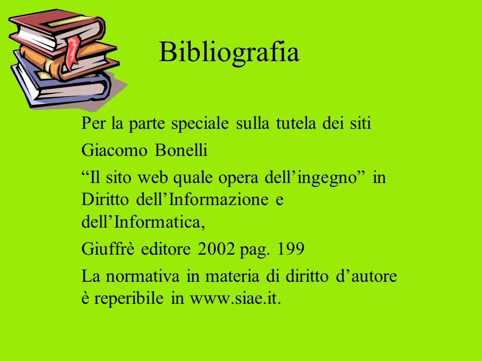 Bibliografia Per la parte speciale sulla tutela dei siti Giacomo Bonelli Il sito web quale opera dellingegno in Diritto dellInformazione e dellInformatica, Giuffrè editore 2002 pag.