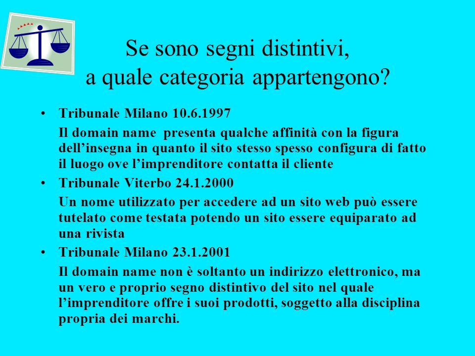 Se sono segni distintivi, a quale categoria appartengono? Tribunale Milano 10.6.1997 Il domain name presenta qualche affinità con la figura dellinsegn