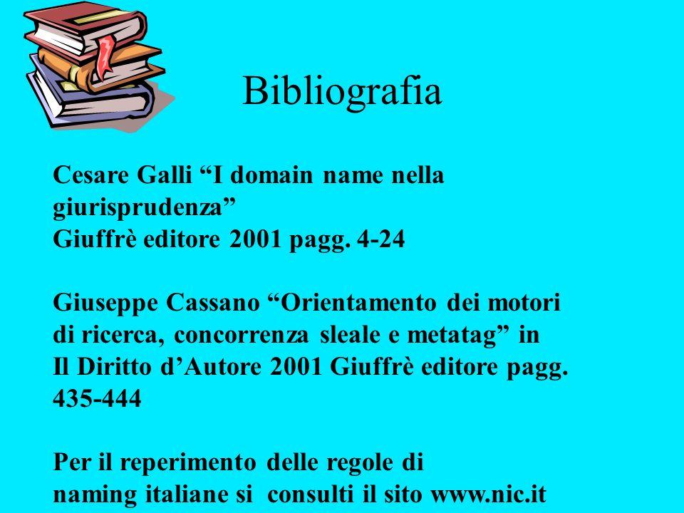 Bibliografia Cesare Galli I domain name nella giurisprudenza Giuffrè editore 2001 pagg. 4-24 Giuseppe Cassano Orientamento dei motori di ricerca, conc