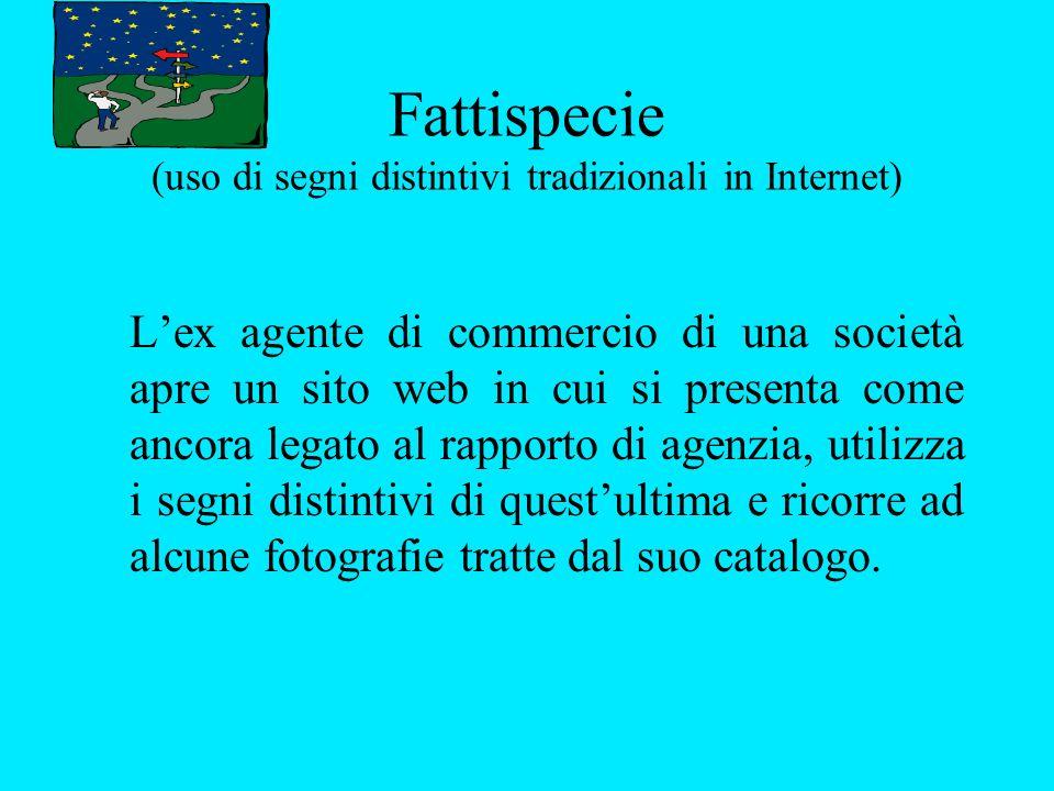 Fattispecie (uso di segni distintivi tradizionali in Internet) Lex agente di commercio di una società apre un sito web in cui si presenta come ancora