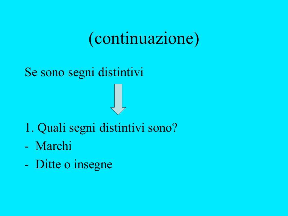 (continuazione) Se sono segni distintivi 1. Quali segni distintivi sono -Marchi -Ditte o insegne