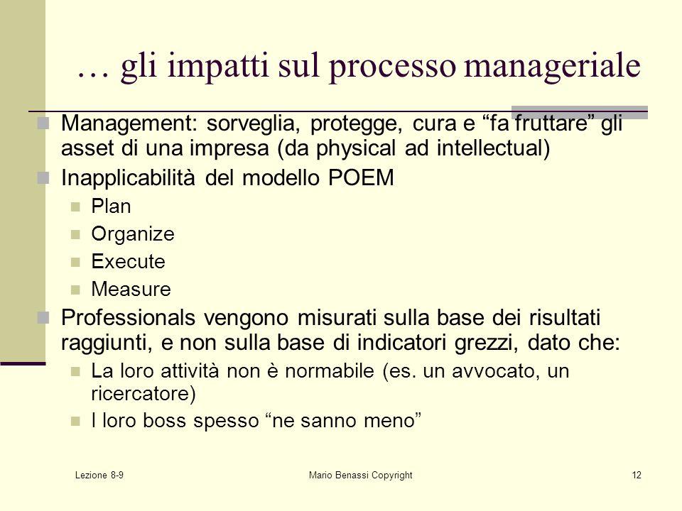 Lezione 8-9 Mario Benassi Copyright12 … gli impatti sul processo manageriale Management: sorveglia, protegge, cura e fa fruttare gli asset di una impr