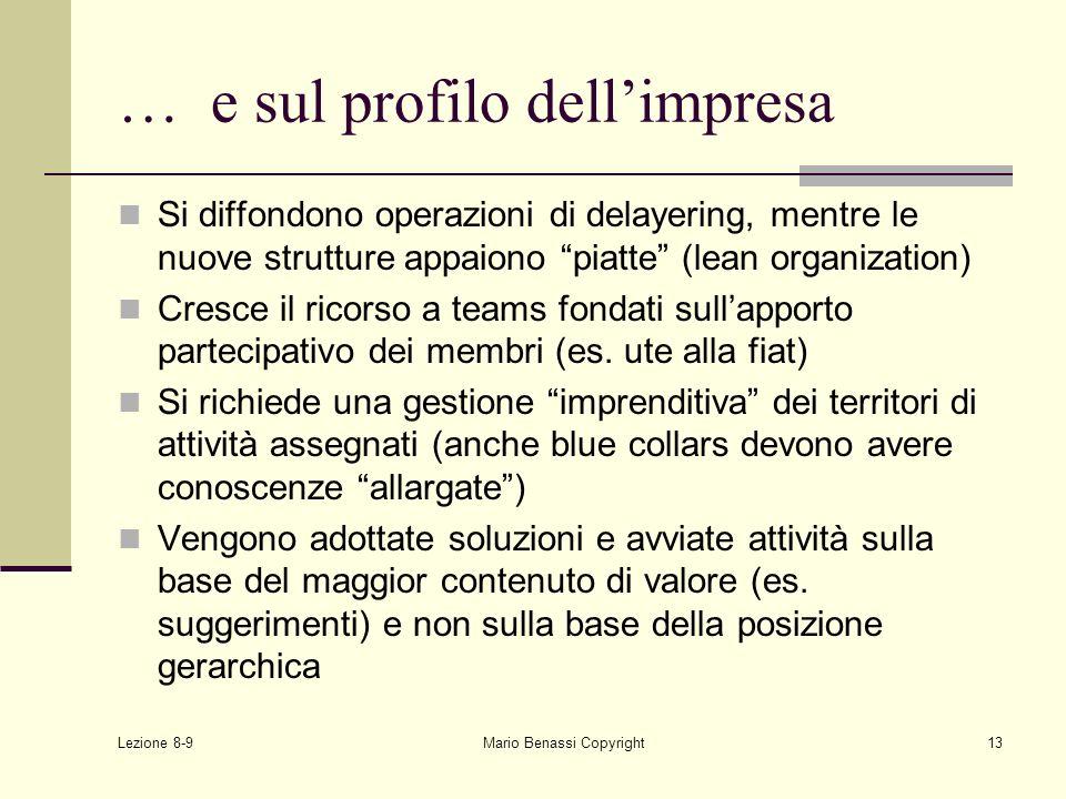 Lezione 8-9 Mario Benassi Copyright13 … e sul profilo dellimpresa Si diffondono operazioni di delayering, mentre le nuove strutture appaiono piatte (l