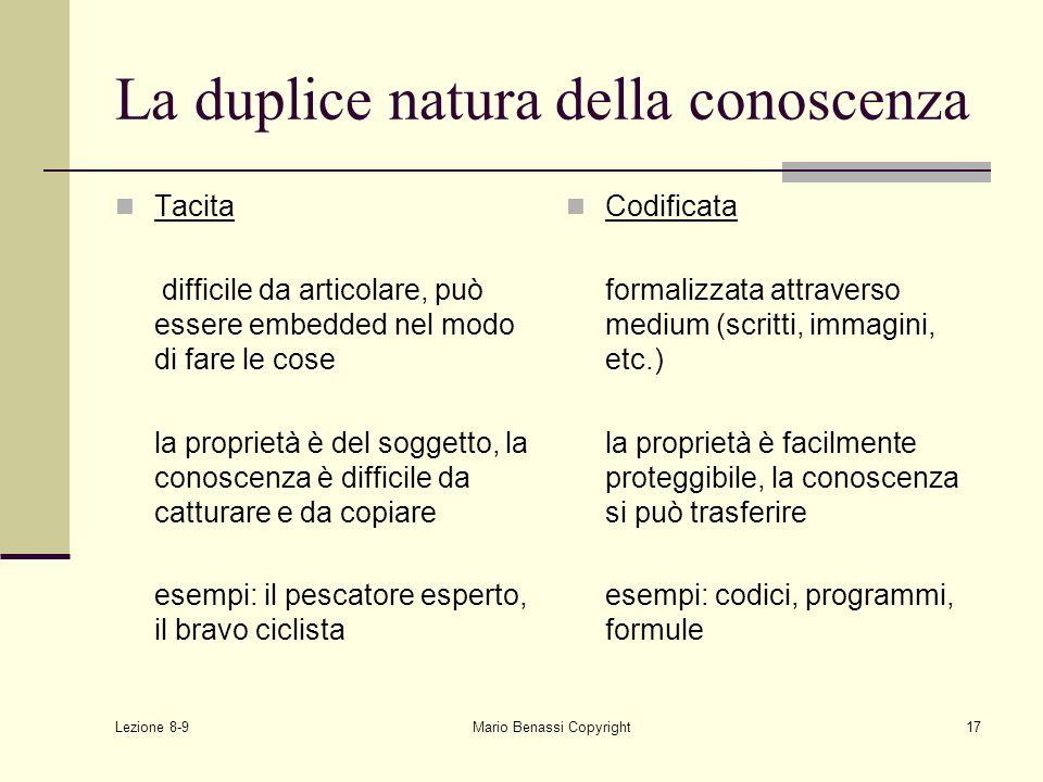 Lezione 8-9 Mario Benassi Copyright17 La duplice natura della conoscenza Tacita difficile da articolare, può essere embedded nel modo di fare le cose