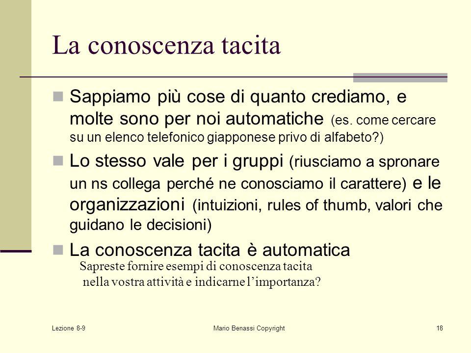 Lezione 8-9 Mario Benassi Copyright18 La conoscenza tacita Sappiamo più cose di quanto crediamo, e molte sono per noi automatiche (es. come cercare su
