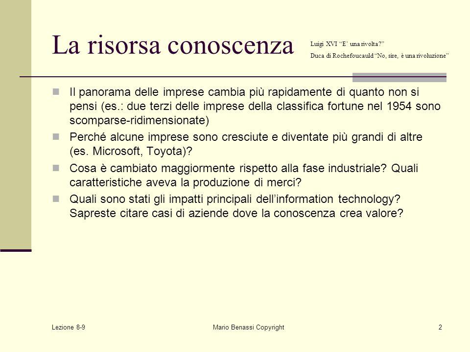 Lezione 8-9 Mario Benassi Copyright23 Human capital: alcune scoperte recenti Dove nascono le nuove idee e dove avvengono i processi di apprendimento.