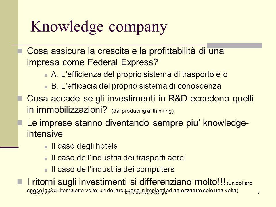 Lezione 8-9 Mario Benassi Copyright6 Knowledge company Cosa assicura la crescita e la profittabilità di una impresa come Federal Express? A. Lefficien