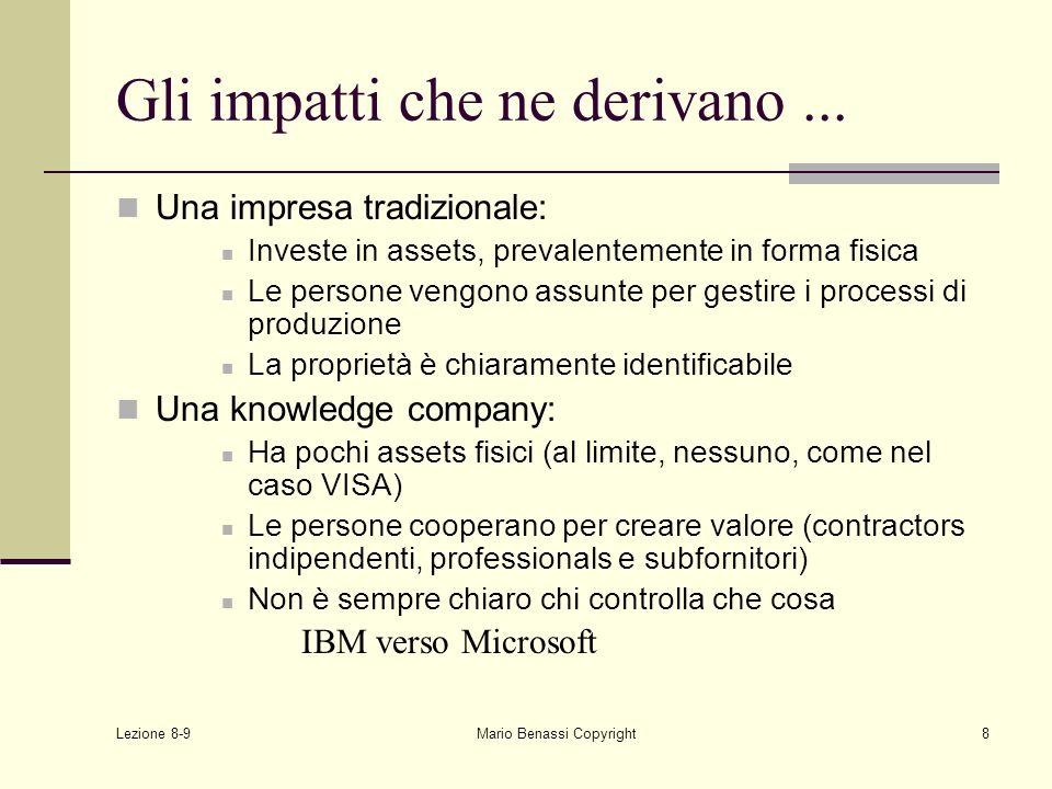 Lezione 8-9 Mario Benassi Copyright8 Gli impatti che ne derivano... Una impresa tradizionale: Investe in assets, prevalentemente in forma fisica Le pe
