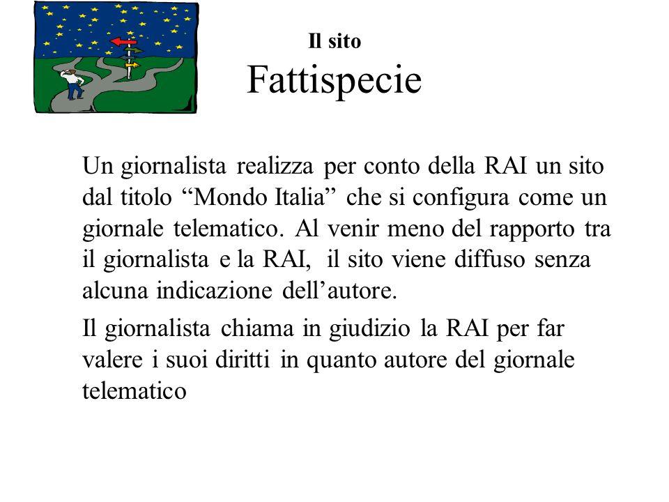 Il sito Fattispecie Un giornalista realizza per conto della RAI un sito dal titolo Mondo Italia che si configura come un giornale telematico.