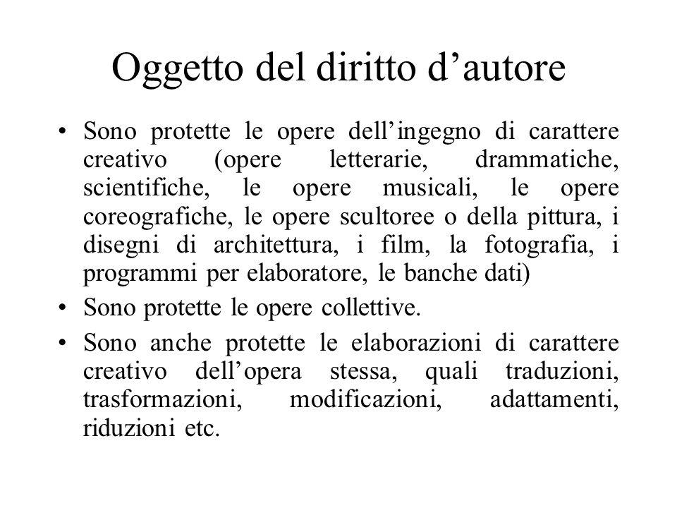 Sentenza Poiché l elencazione delle opere protette dal diritto d autore contenuta nell art.