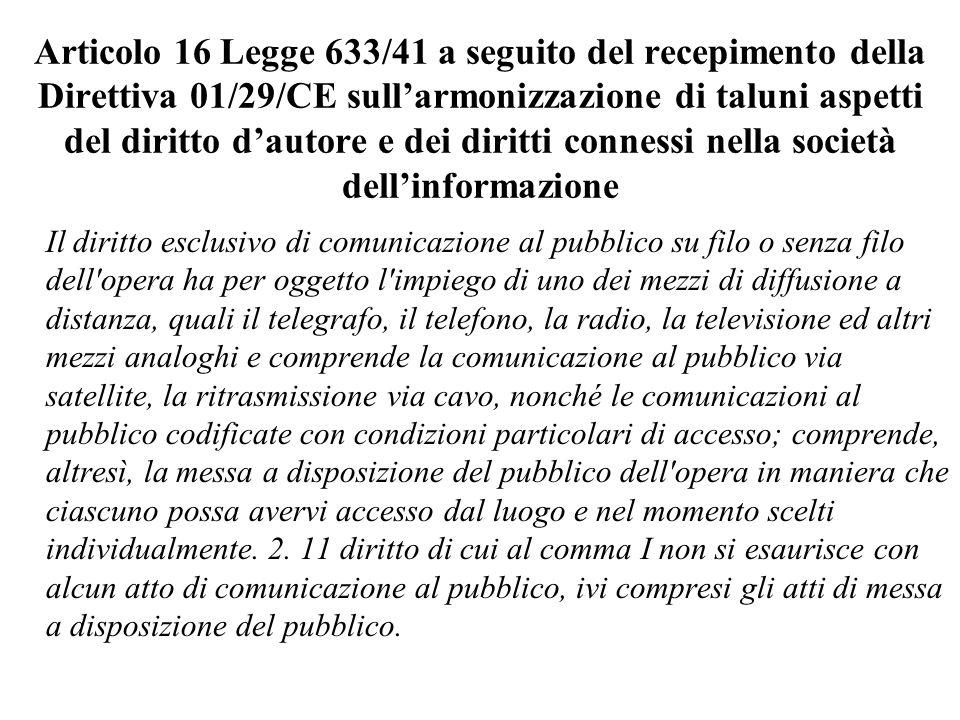 Ordinanza Tribunale Bari 11.6.98 Il sito in questione è senza dubbio unopera intellettuale di carattere creativo, proteggibile in base alla legge sul diritto dautore.
