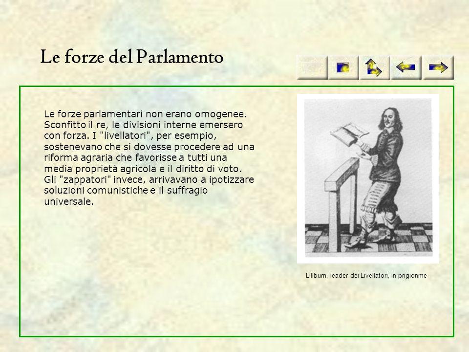 Le forze del Parlamento Le forze parlamentari non erano omogenee. Sconfitto il re, le divisioni interne emersero con forza. I