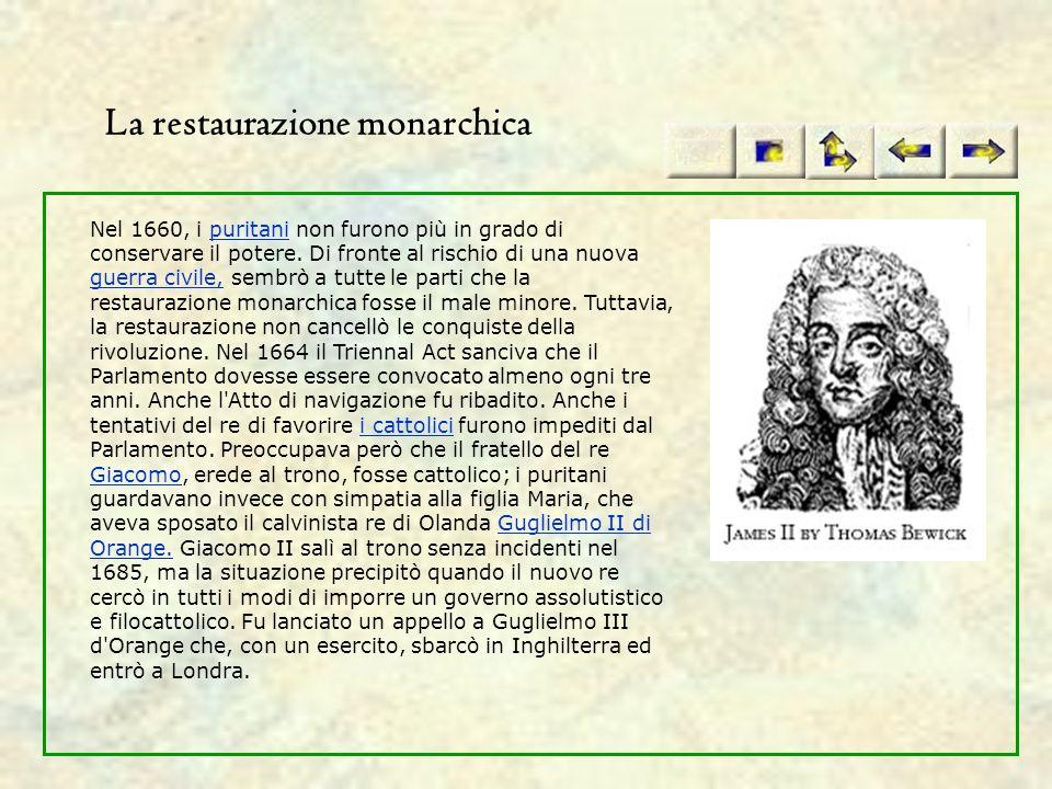 La restaurazione monarchica Nel 1660, i puritani non furono più in grado di conservare il potere. Di fronte al rischio di una nuova guerra civile, sem