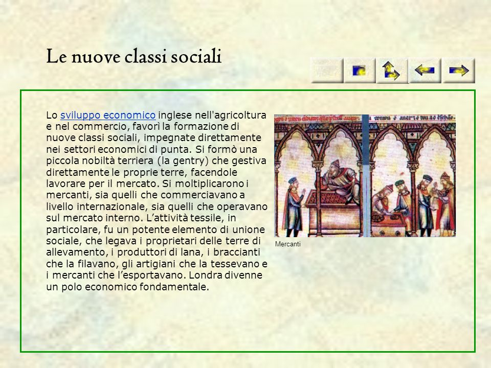 Le nuove classi sociali Lo sviluppo economico inglese nell'agricoltura e nel commercio, favorì la formazione di nuove classi sociali, impegnate dirett