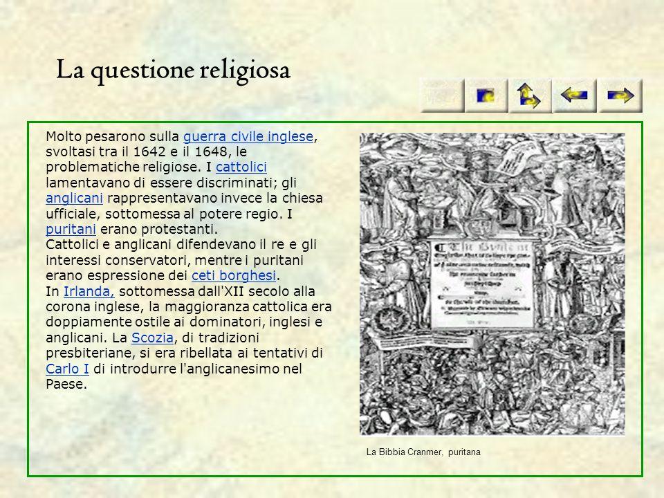 La questione religiosa Molto pesarono sulla guerra civile inglese, svoltasi tra il 1642 e il 1648, le problematiche religiose. I cattolici lamentavano
