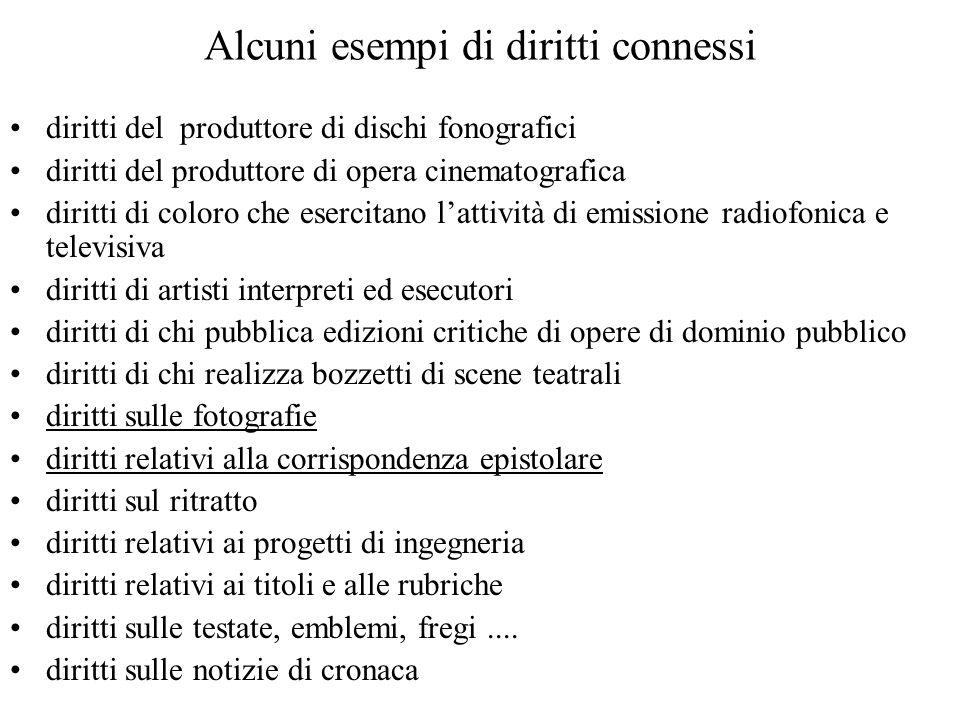 Alcuni esempi di diritti connessi diritti del produttore di dischi fonografici diritti del produttore di opera cinematografica diritti di coloro che e