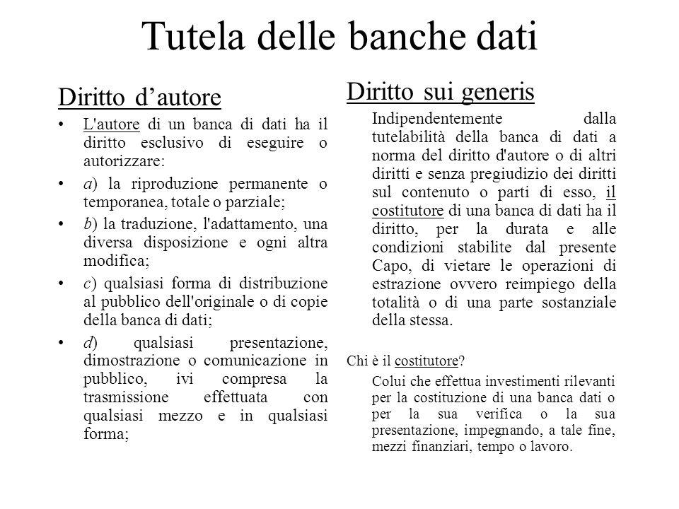 Tutela delle banche dati Diritto dautore L'autore di un banca di dati ha il diritto esclusivo di eseguire o autorizzare: a) la riproduzione permanente