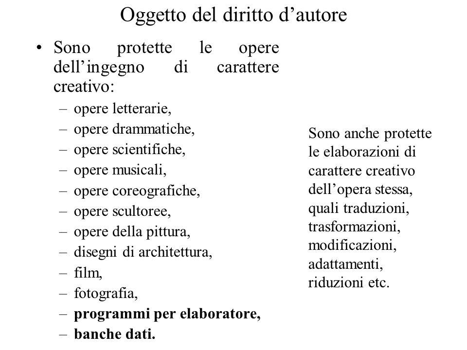 Oggetto del diritto dautore Sono protette le opere dellingegno di carattere creativo: –opere letterarie, –opere drammatiche, –opere scientifiche, –ope