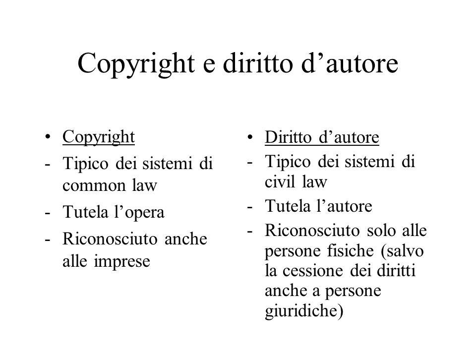 Copyright e diritto dautore Copyright -Tipico dei sistemi di common law -Tutela lopera -Riconosciuto anche alle imprese Diritto dautore -Tipico dei si