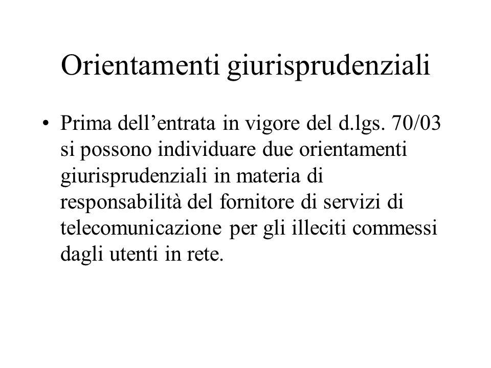 Orientamenti giurisprudenziali Prima dellentrata in vigore del d.lgs.