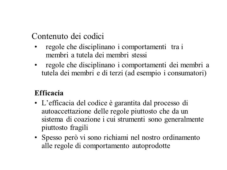 Contenuto dei codici regole che disciplinano i comportamenti tra i membri a tutela dei membri stessi regole che disciplinano i comportamenti dei membr