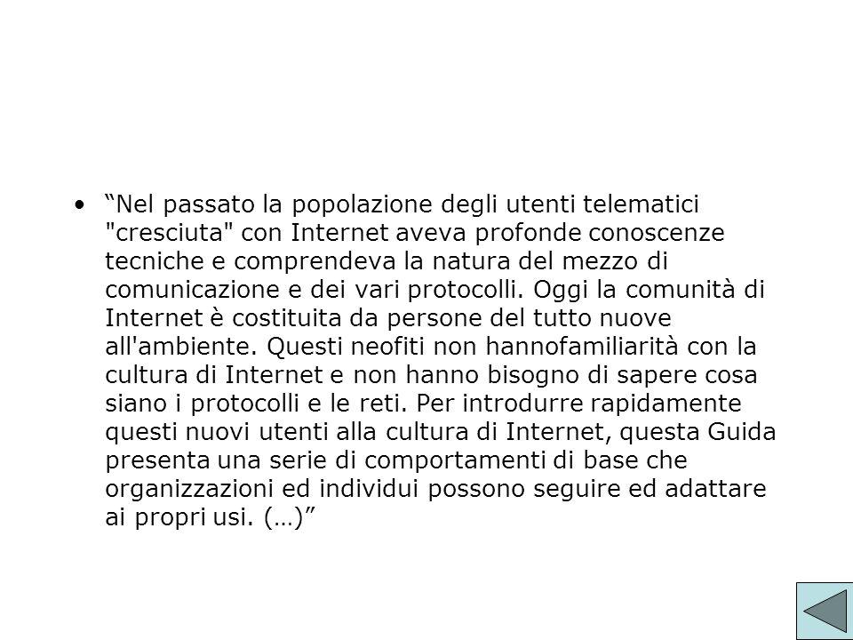 I contenuti La netiquette riguarda principalmente luso interattivo di internet (Computer Mediated Communication CMC), quindi: - posta elettronica - mailing list - newsgroup - servizi ftp Raramente il web.