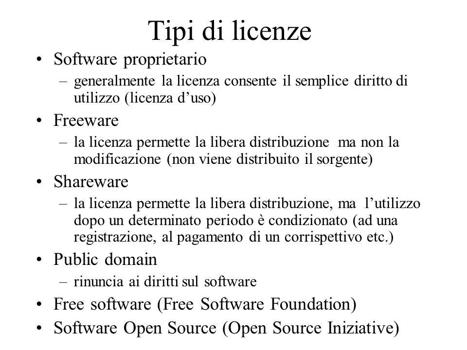 Tipi di licenze Software proprietario –generalmente la licenza consente il semplice diritto di utilizzo (licenza duso) Freeware –la licenza permette l
