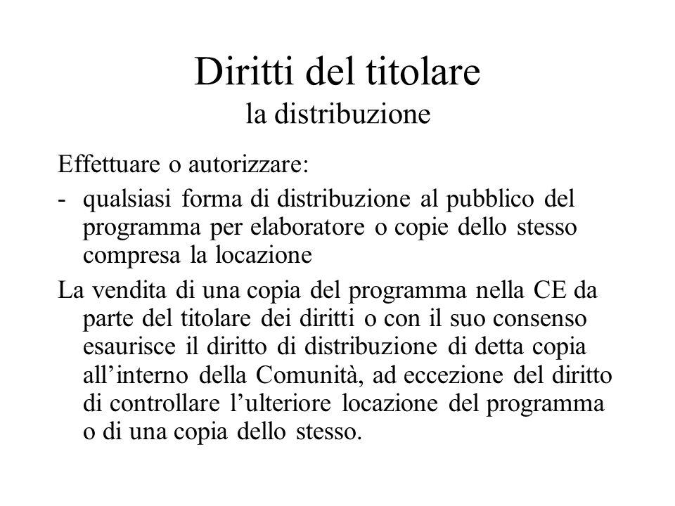 Diritti del titolare la distribuzione Effettuare o autorizzare: -qualsiasi forma di distribuzione al pubblico del programma per elaboratore o copie de