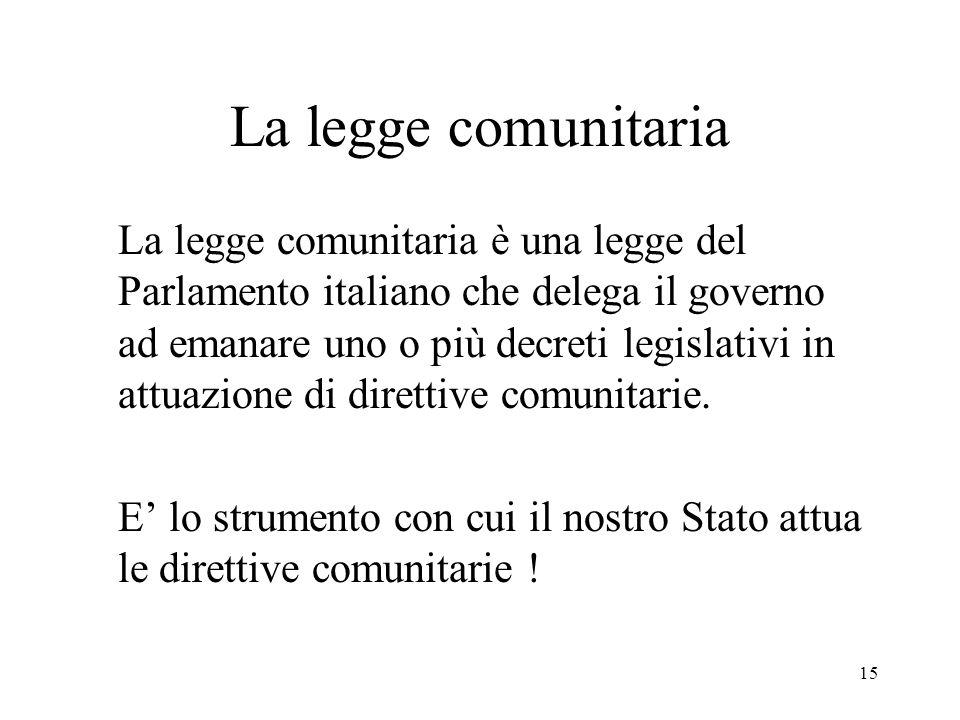15 La legge comunitaria La legge comunitaria è una legge del Parlamento italiano che delega il governo ad emanare uno o più decreti legislativi in att