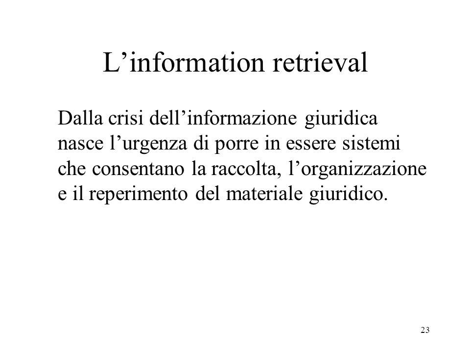 23 Linformation retrieval Dalla crisi dellinformazione giuridica nasce lurgenza di porre in essere sistemi che consentano la raccolta, lorganizzazione