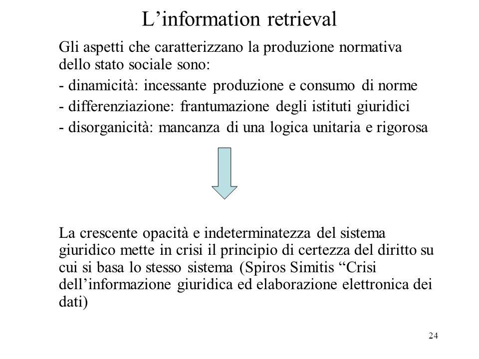 24 Linformation retrieval Gli aspetti che caratterizzano la produzione normativa dello stato sociale sono: - dinamicità: incessante produzione e consu
