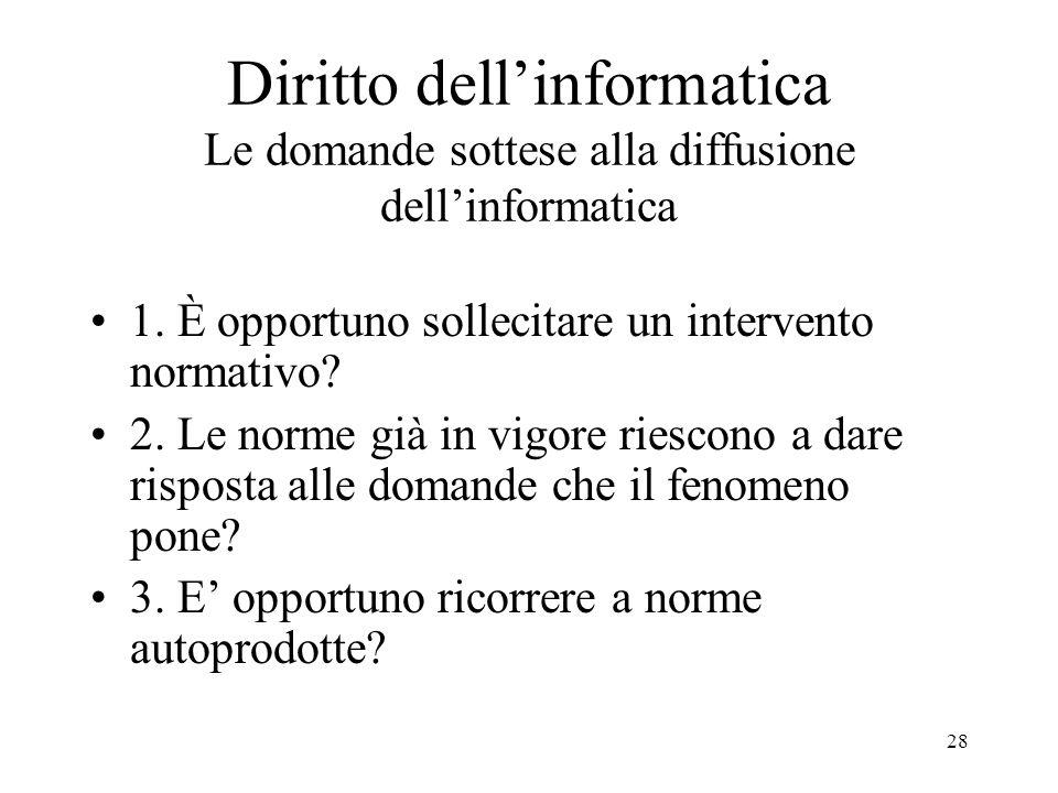 28 Diritto dellinformatica Le domande sottese alla diffusione dellinformatica 1. È opportuno sollecitare un intervento normativo? 2. Le norme già in v