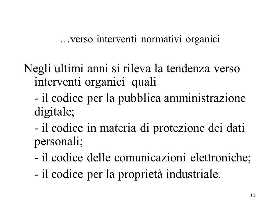 30 …verso interventi normativi organici Negli ultimi anni si rileva la tendenza verso interventi organici quali - il codice per la pubblica amministra