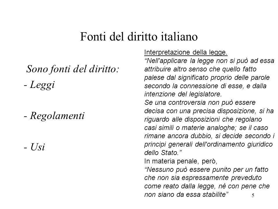 5 Fonti del diritto italiano Sono fonti del diritto: - Leggi - Regolamenti - Usi Interpretazione della legge. Nell'applicare la legge non si può ad es