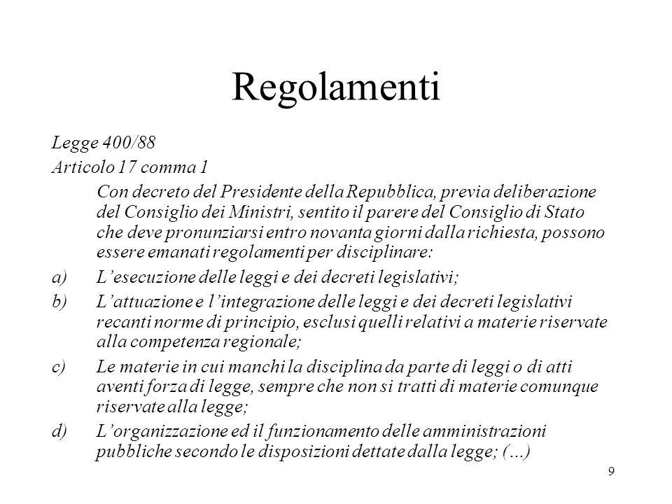 9 Regolamenti Legge 400/88 Articolo 17 comma 1 Con decreto del Presidente della Repubblica, previa deliberazione del Consiglio dei Ministri, sentito i