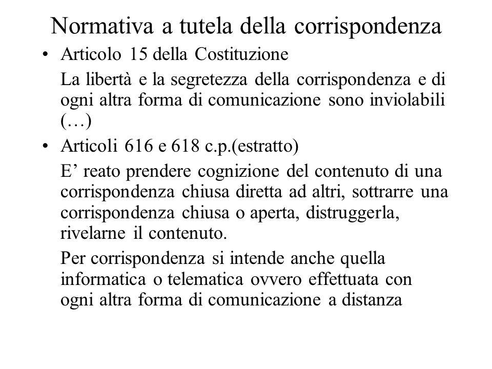 Normativa a tutela della corrispondenza Articolo 15 della Costituzione La libertà e la segretezza della corrispondenza e di ogni altra forma di comuni