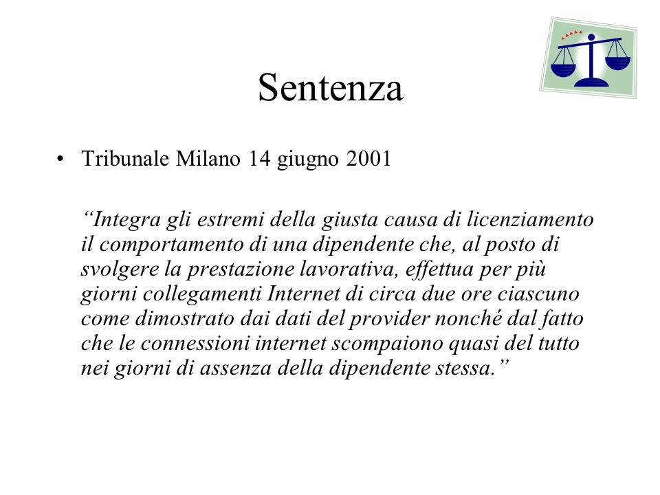 Sentenza Tribunale Milano 14 giugno 2001 Integra gli estremi della giusta causa di licenziamento il comportamento di una dipendente che, al posto di s