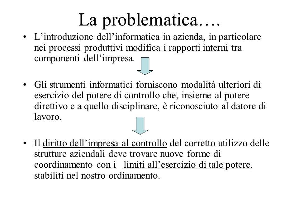 La problematica…. Lintroduzione dellinformatica in azienda, in particolare nei processi produttivi modifica i rapporti interni tra componenti dellimpr