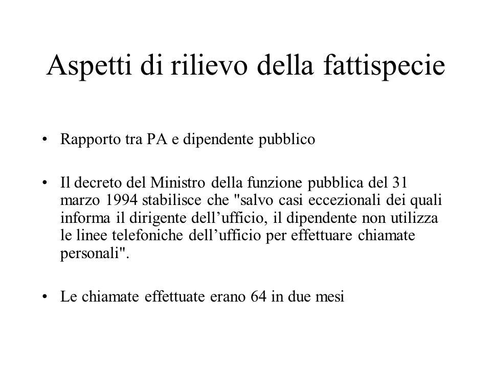 Aspetti di rilievo della fattispecie Rapporto tra PA e dipendente pubblico Il decreto del Ministro della funzione pubblica del 31 marzo 1994 stabilisc