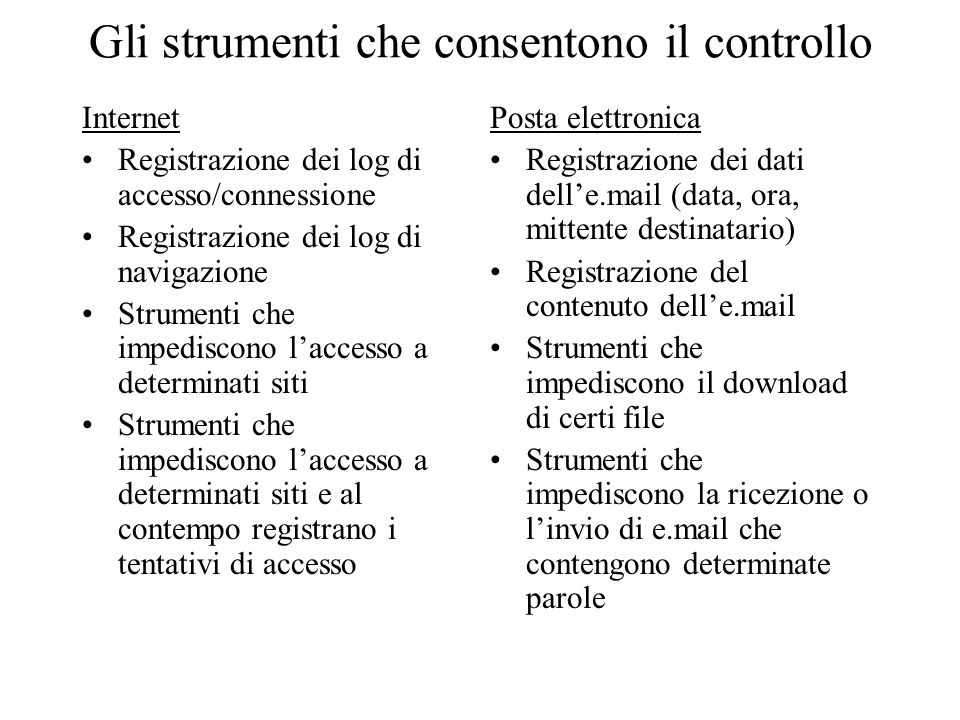 Gli strumenti che consentono il controllo Internet Registrazione dei log di accesso/connessione Registrazione dei log di navigazione Strumenti che imp