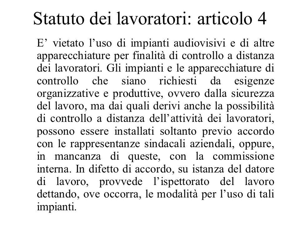 Statuto dei lavoratori: articolo 4 E vietato luso di impianti audiovisivi e di altre apparecchiature per finalità di controllo a distanza dei lavoratori.