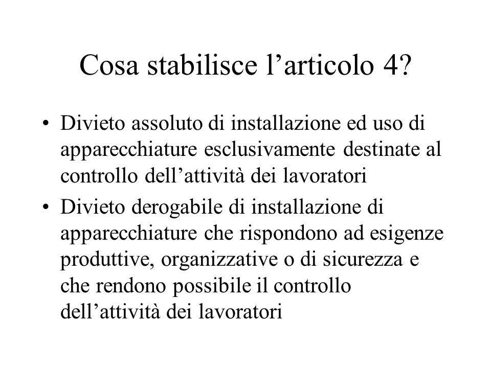 Cosa stabilisce larticolo 4.