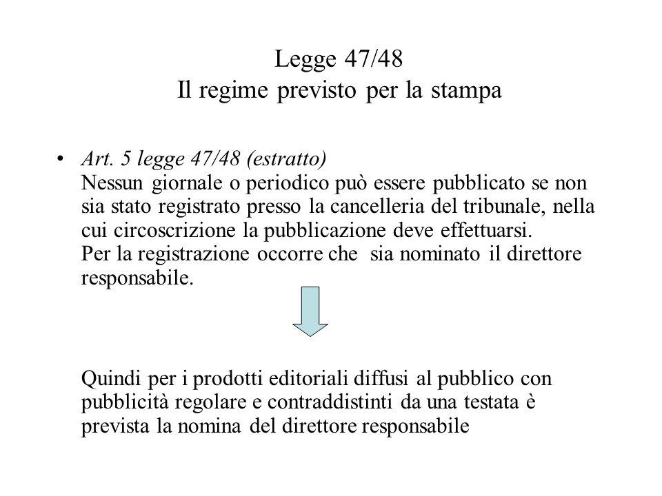 Art. 5 legge 47/48 (estratto) Nessun giornale o periodico può essere pubblicato se non sia stato registrato presso la cancelleria del tribunale, nella
