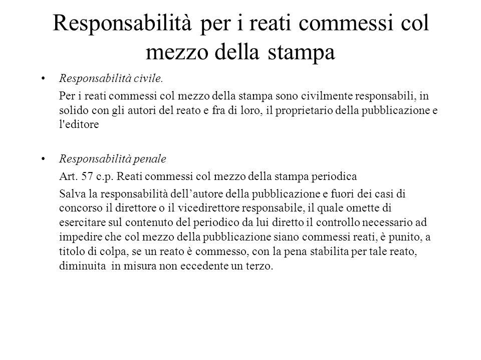 Responsabilità per i reati commessi col mezzo della stampa Responsabilità civile.