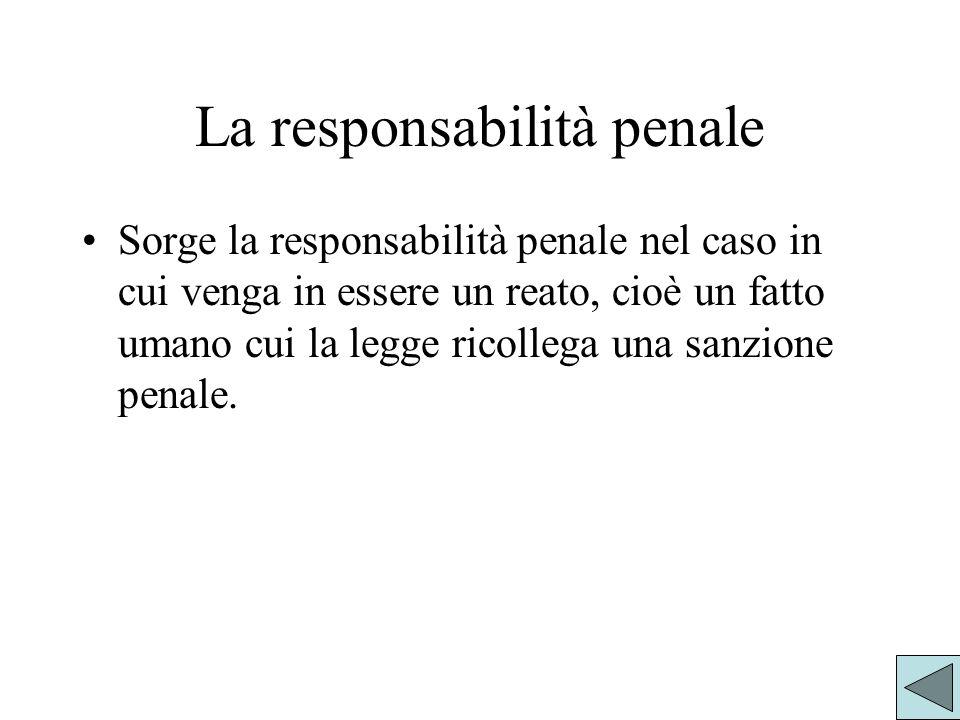 La responsabilità penale Sorge la responsabilità penale nel caso in cui venga in essere un reato, cioè un fatto umano cui la legge ricollega una sanzione penale.
