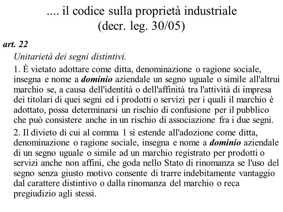 .... il codice sulla proprietà industriale (decr. leg. 30/05) art. 22 Unitarietà dei segni distintivi. 1. È vietato adottare come ditta, denominazione