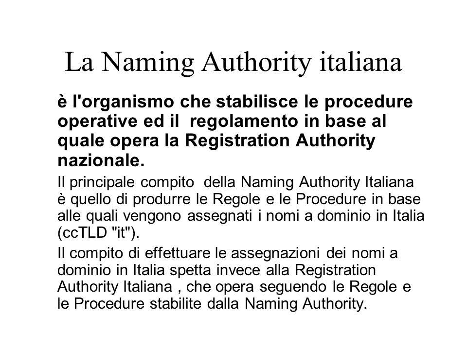 La Naming Authority italiana è l'organismo che stabilisce le procedure operative ed il regolamento in base al quale opera la Registration Authority na