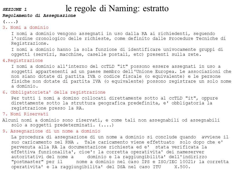le regole di Naming: estratto SEZIONE 1 Regolamento di Assegnazione (....) 3. Nomi a dominio I nomi a dominio vengono assegnati in uso dalla RA ai ric